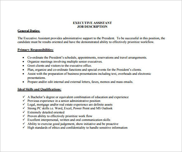executive assistant job description for real estate free pdf download