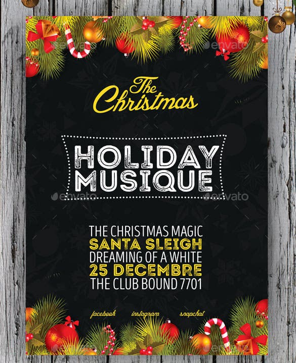 download christmas poster template photoshop psd