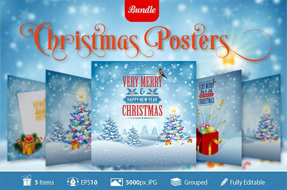 5 christmas posters template with snowflakes eps format