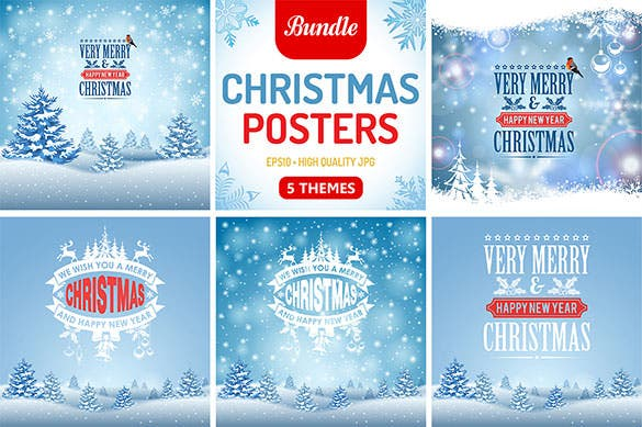 5 christmas posters with retro label eps download