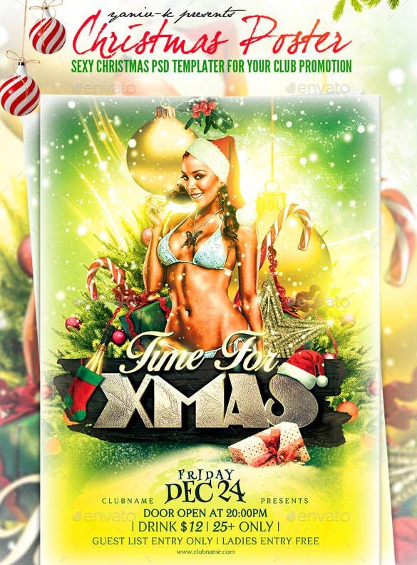 sexy christmas poster template download psd