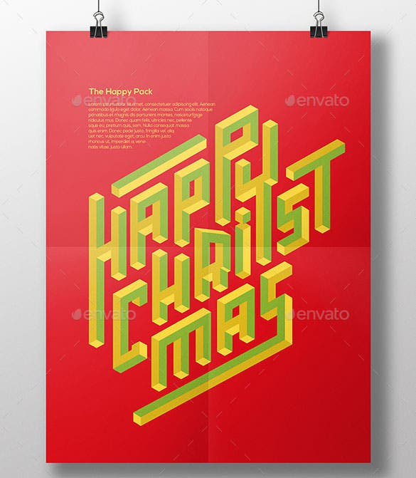 3 modern happy christmas poster template ai format