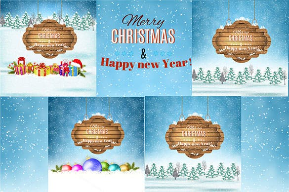 new year and merry christmas winter landscape poster template