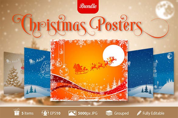 5 christmas posters with snowflakes template eps vector