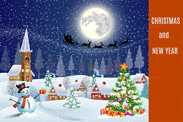 christmas posters template snowman with giftbox eps format