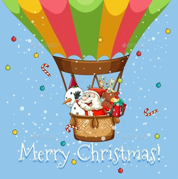 christmas poster with santa on balloon transparent png download