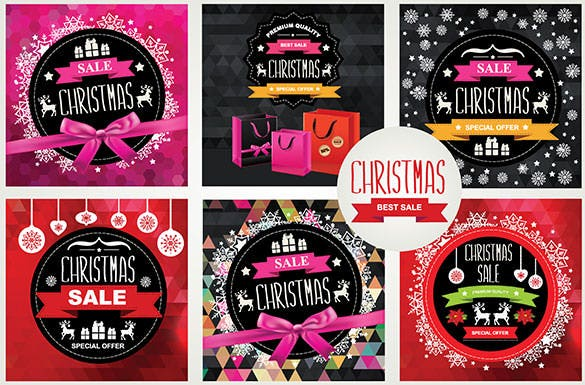 6 christmas sale poster template eps premium download