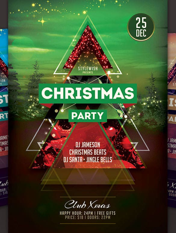 christmas party flyer poster template download png format
