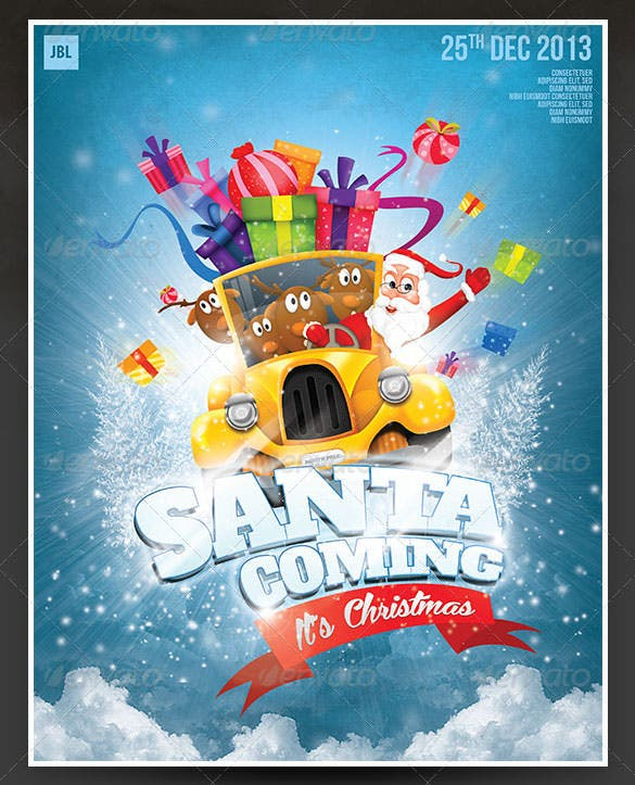 santa coming christmas poster template photoshop psd