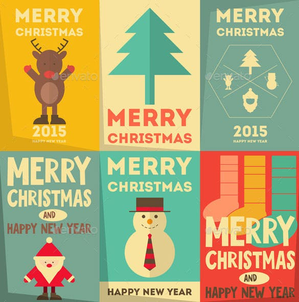6 christmas posters set template vector eps download