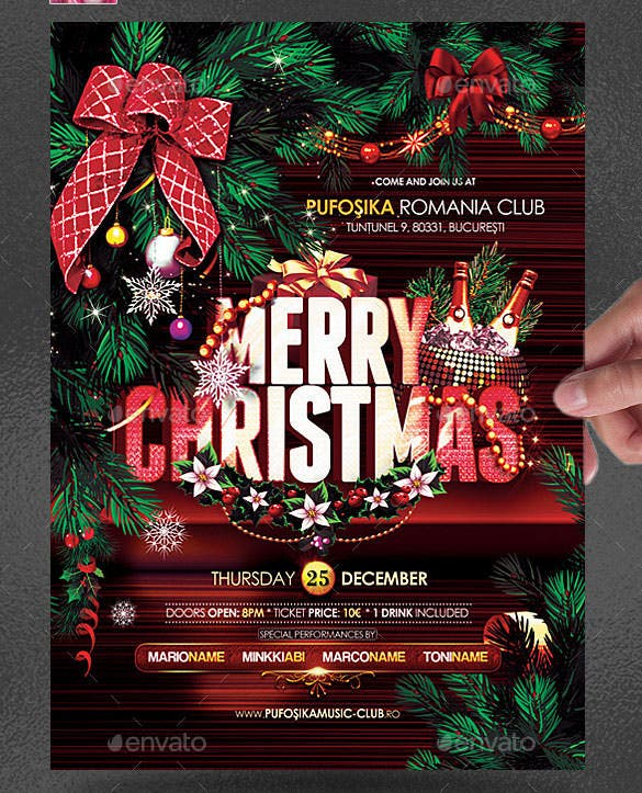 merry christmas poster template photoshop psd design