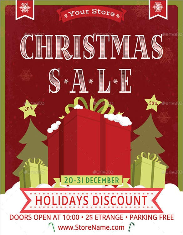 Christmas Sale Poster Template CS3 Photoshop PSD  For Sale Poster Template