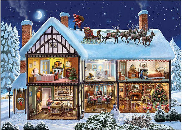 premium download christmas house poster template
