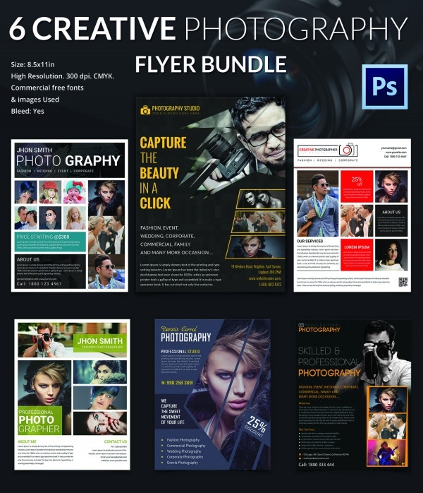 6 Creative Photography Flyer Template Bundle