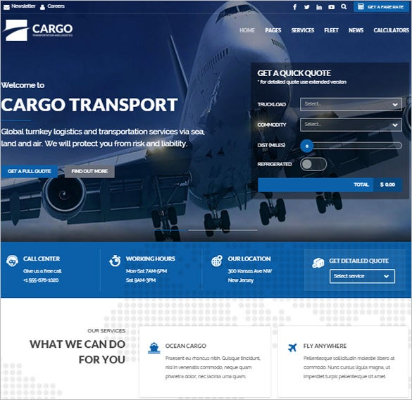 transport logistics warehouse wordpress theme