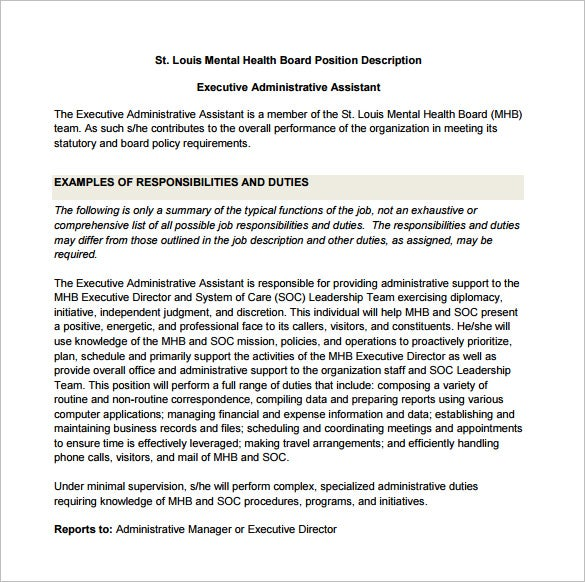 free executive administrative assistant job description sample pdf template. Resume Example. Resume CV Cover Letter