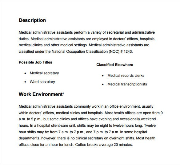 Merveilleux Medical Administrative Assistant Job Description Sample PDF Free Download