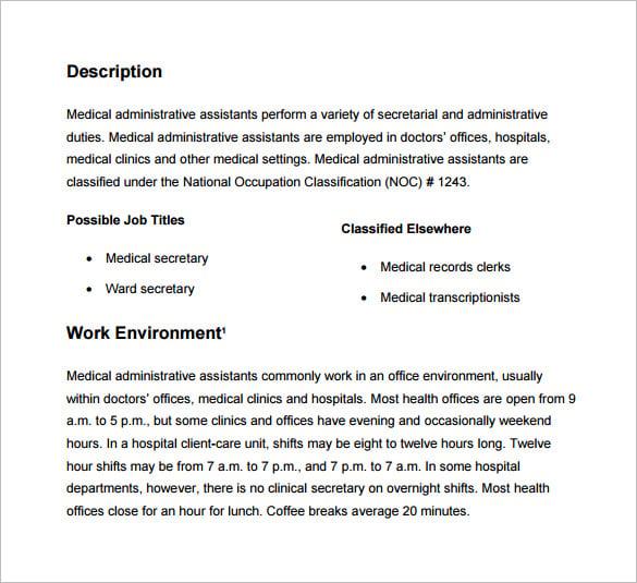 Administrative Assistant Job Description – Medical Secretary Job Description