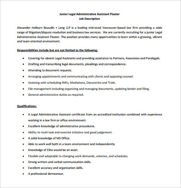 Junior Legal Administrative Assistant Job Description Free PDF Format  Duties Of Administrative Assistant