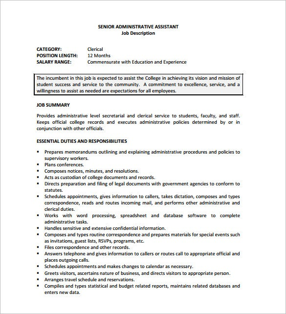 free senior administrative assistant job description pdf download