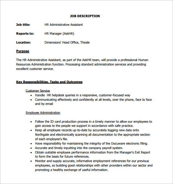 Charmant HR Administrative Assistant Job Description Sample PDF Free Download