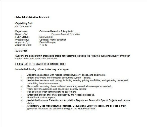 sales administrative assistant job description free word template