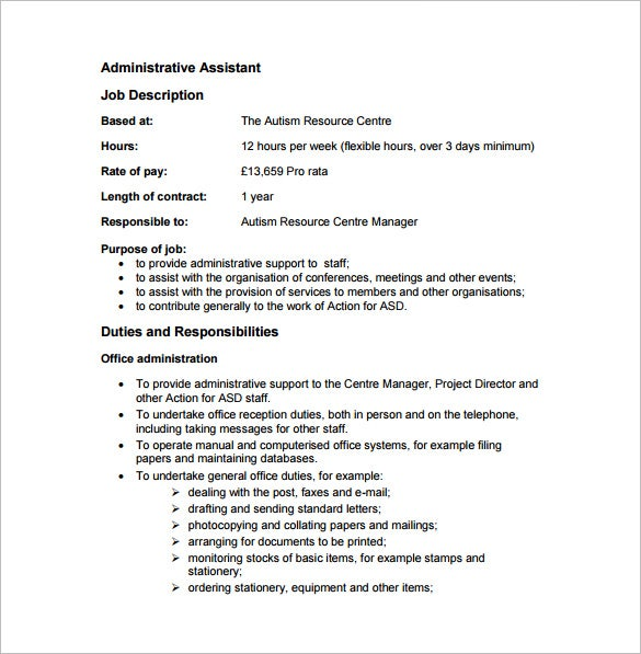 Executive assistant job description for Executive administrative assistant job description template