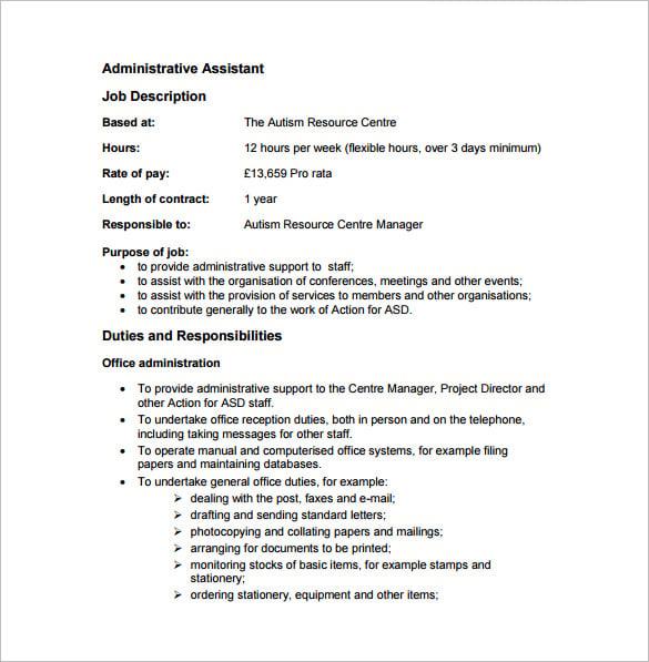Admin Assistant Job Description Sample – Job Description Sample