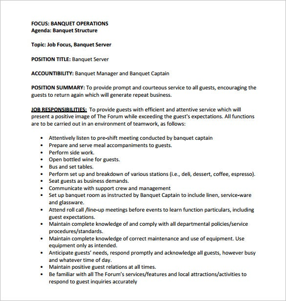 banquet server job description free pdf template