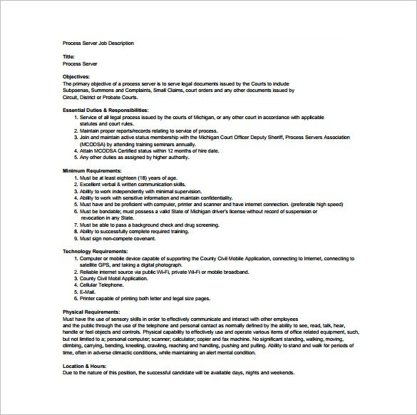 Server Job Description Server Job Description Resume Sample Server