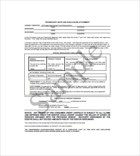 promissory note and disclosure statement notice