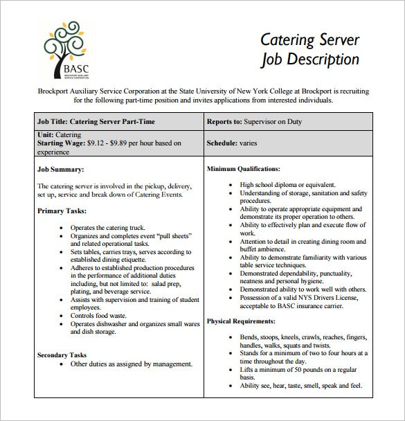 catering server job description free pdf template