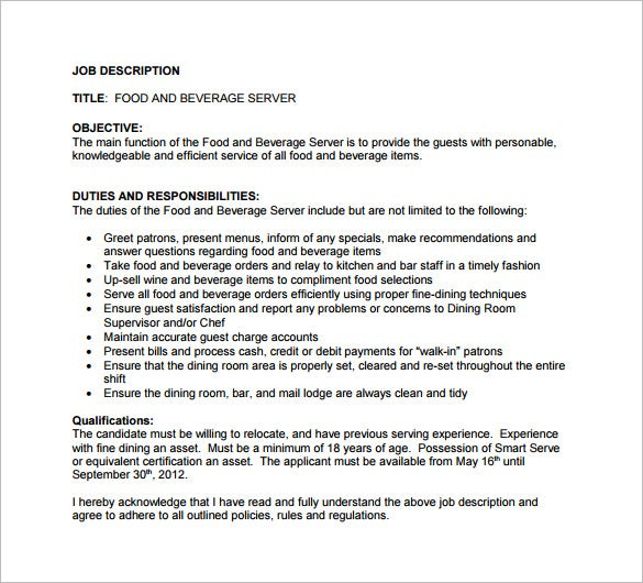 Server Job Description Template   Free Word Pdf Format