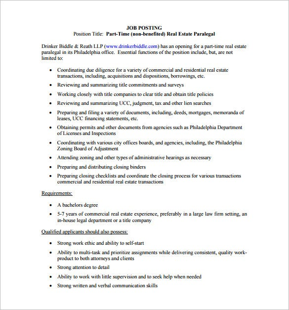 real estate paralegal job description free pdf template