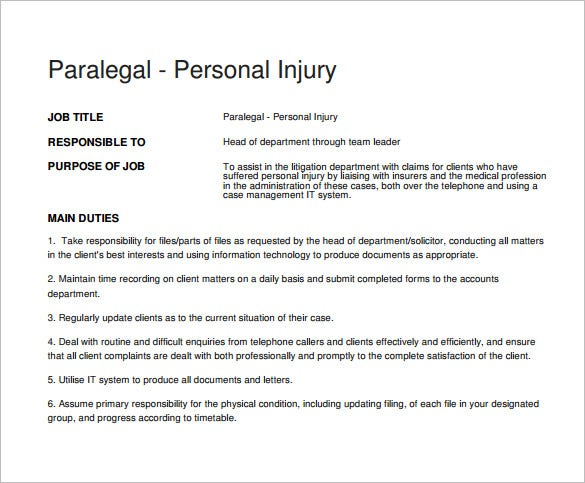 personal injury paralegal job description free pdf download