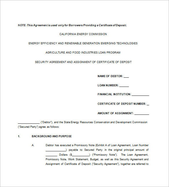 Sample Security Agreement Promissory Note Security Agreement Form