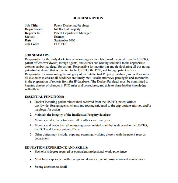 Patent Description Template. paralegal job description template 10 ...