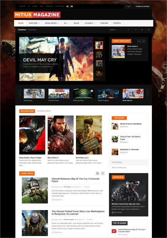 beautiful gaming magazine joomla theme