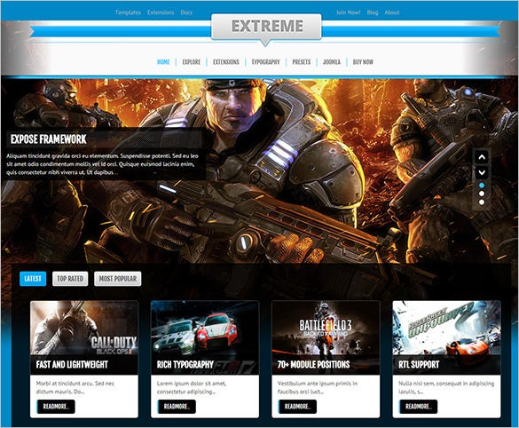 extreme gaming joomla template
