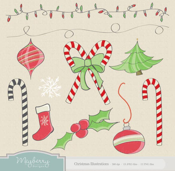 vector christmas illustrations instant download