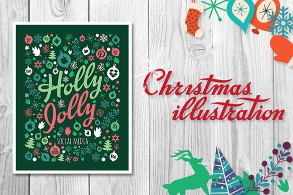 4 christmas illustrations ai files download
