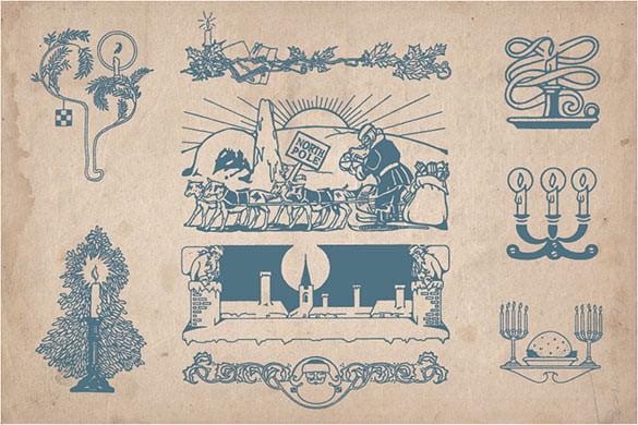 70 vintage christmas illustrations ai download