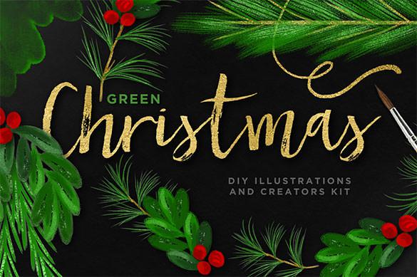 8 psd christmas illustration bundle download
