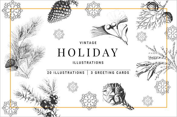 30 cute christmas illustrations pack premium download