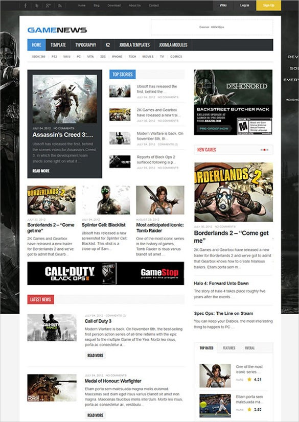gaming news joomla theme1