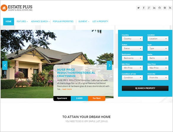 responsive real estate html5 theme