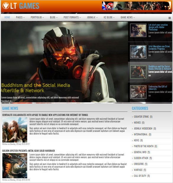 pretty gaming joomla theme