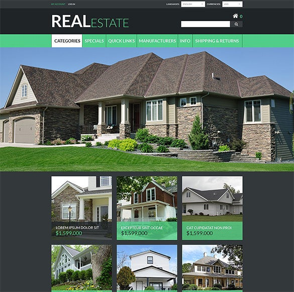 real estate zencart bootstrap template