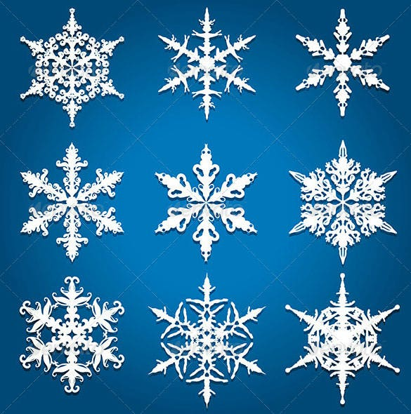 9 christmas snowflake designs vector eps download