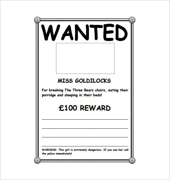 Delightful Goldilocks Wanted Poster Sample PDF Free Download Ideas Printable Wanted Poster Template